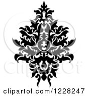Clipart Of A Black And White Floral Damask Design 42 Royalty Free Vector Illustration