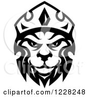Clipart Of A Black And White Crowned Lion 2 Royalty Free Vector Illustration by Seamartini Graphics