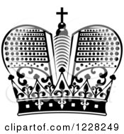 Clipart Of A Black And White Crown 22 Royalty Free Vector Illustration