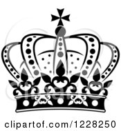 Clipart Of A Black And White Crown 19 Royalty Free Vector Illustration