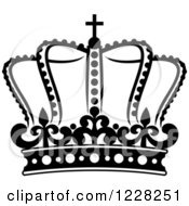 Clipart Of A Black And White Crown 21 Royalty Free Vector Illustration