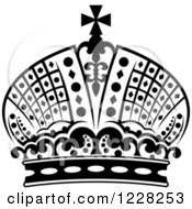 Clipart Of A Black And White Crown 18 Royalty Free Vector Illustration