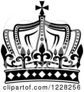 Clipart Of A Black And White Crown 16 Royalty Free Vector Illustration
