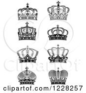 Clipart Of Black And White Crowns 10 Royalty Free Vector Illustration