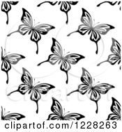 Clipart Of A Seamless Black And White Butterfly Background Pattern Royalty Free Vector Illustration