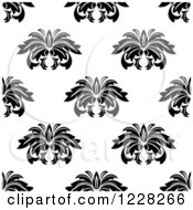 Clipart Of A Seamless Black And White Floral Background Pattern Royalty Free Vector Illustration