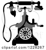 Clipart Of A Retro Black And White Desk Telephone 5 Royalty Free Vector Illustration