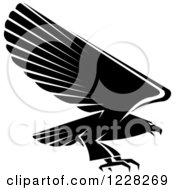 Clipart Of A Black And White Profiled Flying Eagle Royalty Free Vector Illustration