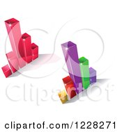 Clipart Of 3d Magenta And Colorful Bar Graphs Royalty Free Vector Illustration