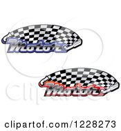 Clipart Of Checkered Racing Flags With The Word Motor And Mufflers Royalty Free Vector Illustration by Vector Tradition SM