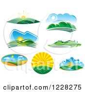 Clipart Of Summer Landscapes Royalty Free Vector Illustration