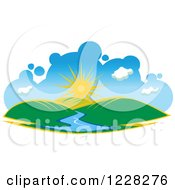 Clipart Of A Summer Sun Over Hills And A River Royalty Free Vector Illustration by Seamartini Graphics