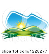 Clipart Of A Summer Sunrise Over Green Hills Royalty Free Vector Illustration by Vector Tradition SM