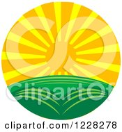 Clipart Of A Summer Sunset Over A Green Landscape Royalty Free Vector Illustration