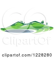 Clipart Of A Summer Landscape With Hills And A Pond Royalty Free Vector Illustration