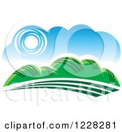 Clipart Of A Summer Landscape With Hills Royalty Free Vector Illustration