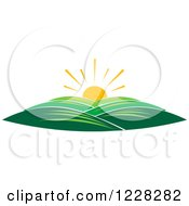 Clipart Of A Summer Sunrise Over Hills Royalty Free Vector Illustration