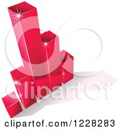 Clipart Of A 3d Magenta Bar Graph And Shadow Royalty Free Vector Illustration