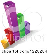 Clipart Of A 3d Colorful Bar Graph And Shadow Royalty Free Vector Illustration