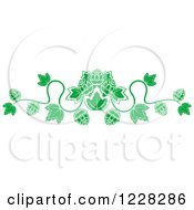 Clipart Of A Green Border Of Beer Hops And Leaves Royalty Free Vector Illustration