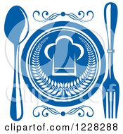 Clipart Of A Blue And White Chef Hat Plate And Silverware Royalty Free Vector Illustration