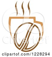 Clipart Of A Coffee Bean And A Steamy Beverage Royalty Free Vector Illustration