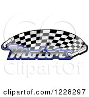 Clipart Of A Checkered Racing Flag With The Word Motor In Blue And Muffler Royalty Free Vector Illustration by Vector Tradition SM