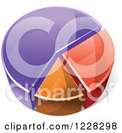 Clipart Of A 3d Purple Orange And Red Pie Chart Royalty Free Vector Illustration