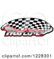 Clipart Of A Checkered Racing Flag With The Word Motor In Red And Muffler Royalty Free Vector Illustration by Vector Tradition SM