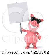 Clipart Of A 3d Pink Pig Wearing Sunglasses And Holding A Sign Royalty Free Illustration