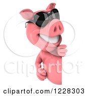 Clipart Of A 3d Pink Pig Wearing Sunglasses And Looking Around A Sign Royalty Free Illustration