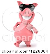 Clipart Of A 3d Pink Pig Walking In Sunglasses Royalty Free Illustration