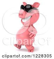 Clipart Of A 3d Pink Pig Walking In Sunglasses 2 Royalty Free Illustration