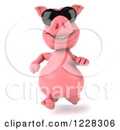 Clipart Of A 3d Pink Pig Running In Sunglasses Royalty Free Illustration
