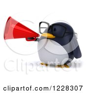 Clipart Of A 3d Bespectacled Penguin Announcing With A Megaphone 2 Royalty Free Illustration