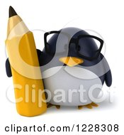 Clipart Of A 3d Bespectacled Penguin With A Pencil Royalty Free Illustration