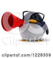 Clipart Of A 3d Bespectacled Penguin Announcing With A Megaphone Royalty Free Illustration