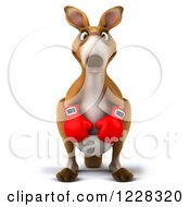 Clipart Of A 3d Boxer Kangaroo Royalty Free Illustration