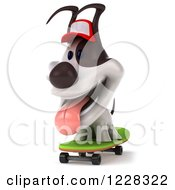 Clipart Of A 3d Skateboarding Jack Russell Terrier Dog Wearing A Hat 2 Royalty Free Illustration