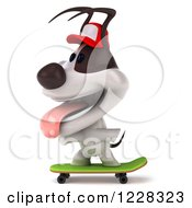 Clipart Of A 3d Skateboarding Jack Russell Terrier Dog Wearing A Hat 3 Royalty Free Illustration