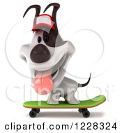 Clipart Of A 3d Skateboarding Jack Russell Terrier Dog Wearing A Hat Royalty Free Illustration