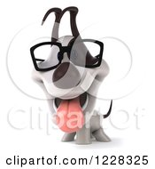 Clipart Of A 3d Bespectacled Jack Russell Terrier Dog Royalty Free Illustration