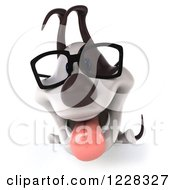 Clipart Of A 3d Bespectacled Jack Russell Terrier Dog Over A Sign Royalty Free Illustration