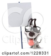 Clipart Of A 3d Bespectacled Jack Russell Terrier Dog With A Sign Royalty Free Illustration