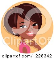 Clipart Of A Young Black Woman With Short Hair Avatar Royalty Free Vector Illustration by Monica