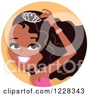 Clipart Of A Young Black Beauty Queen Woman Avatar Royalty Free Vector Illustration