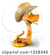 Clipart Of A 3d Orange Snake Wearing A Cowboy Hat And Facing Right Royalty Free Illustration by Julos
