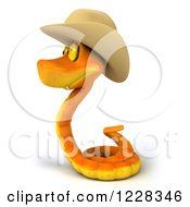 Clipart Of A 3d Orange Snake Wearing A Cowboy Hat And Facing Left Royalty Free Illustration by Julos