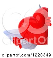 Clipart Of A 3d Thmb Down Red Winged Heart Looking Around A Sign Royalty Free Illustration by Julos