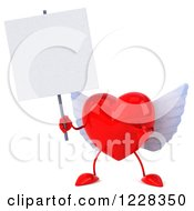 Clipart Of A 3d Red Winged Heart Holding A Sign Royalty Free Illustration by Julos